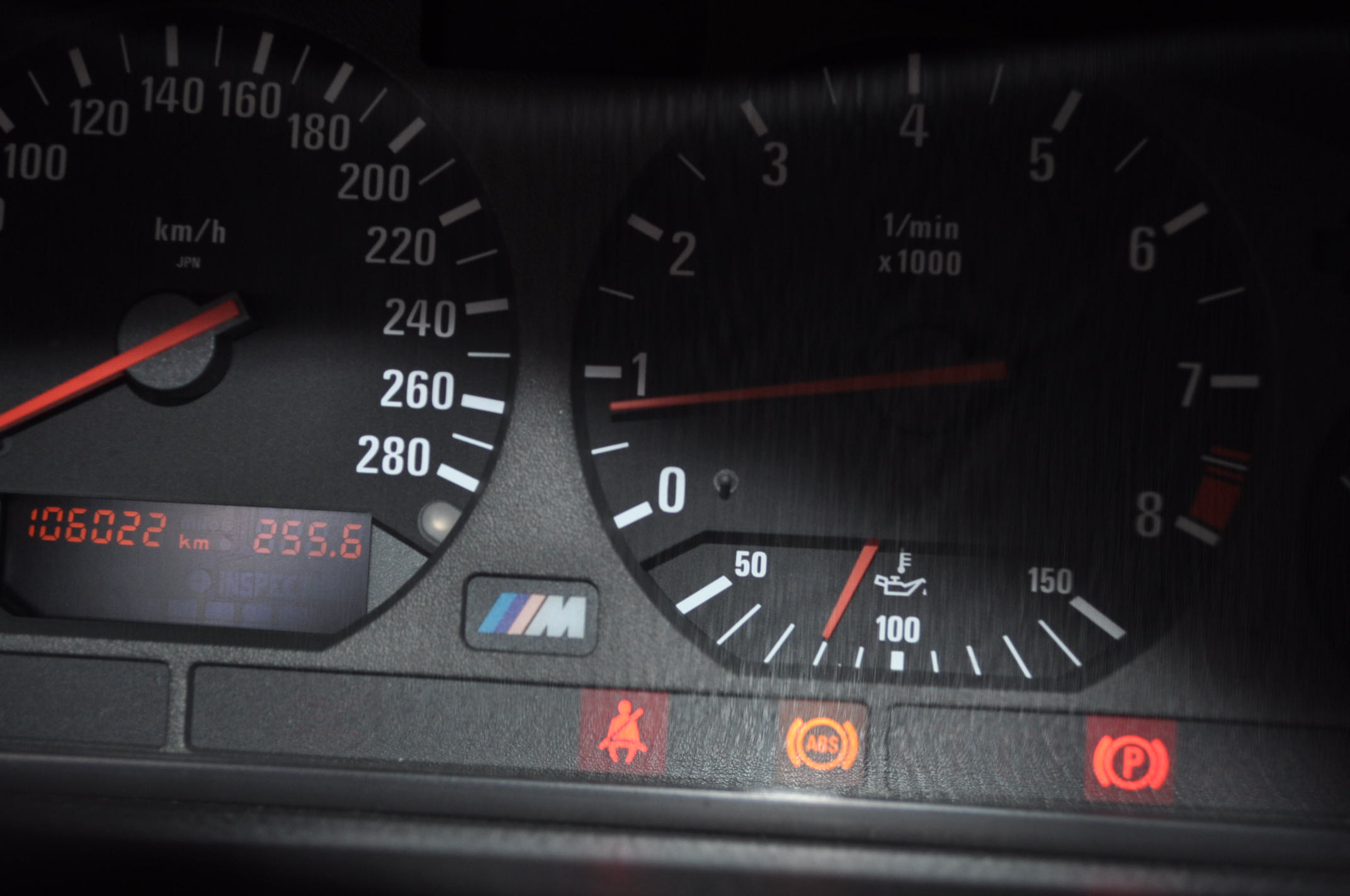 BMW E36 ABSユニット故障時のランプ点灯の様子